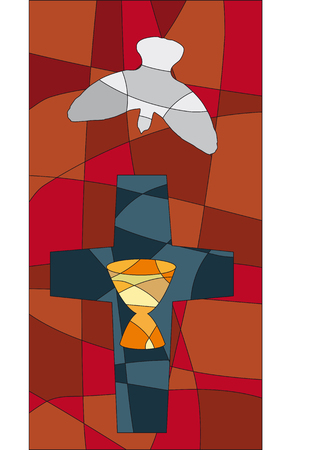 Cross, dove and chalice in a mosaic style like a church window Ilustração