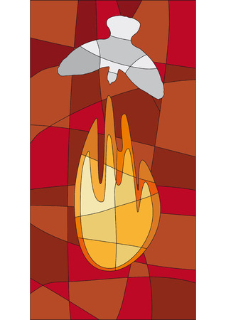 pentecost: Flame and dove in mosaic style like a church window