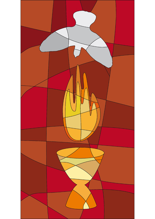 holy eucharist: Flame, chalice and dove in mosaic style like a church window