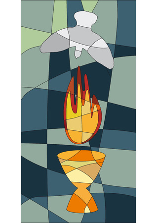 fleming: Flame, chalice and dove in mosaic style like a church window