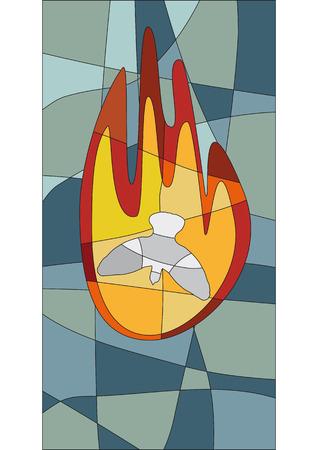 Płomień i gołąb w stylu mozaiki jak okno kościoła Ilustracje wektorowe