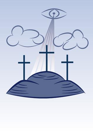 calvary: Three crosses on the calvary