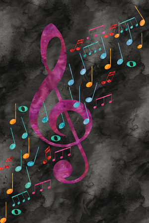 concert background: Treble clef with music drawn with watercolor Stock Photo