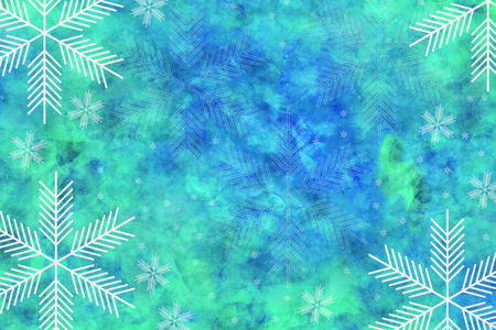 Watercolor texture with snowflakes