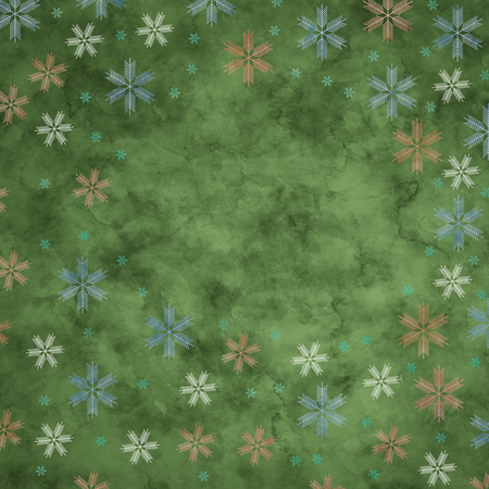 Abstract snowflakes in front of a green background. Symbol for icy cold winter Stock Photo