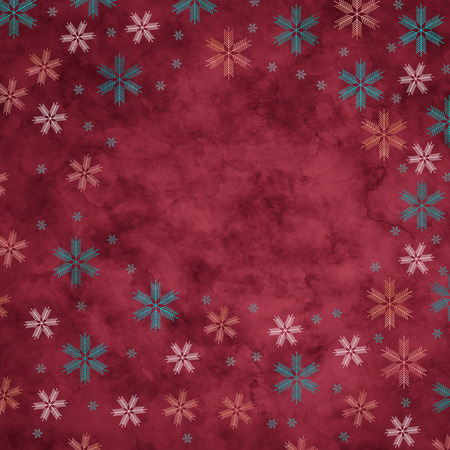 glacial: Abstract snowflakes in front of a red background. Symbol for icy cold winter Stock Photo