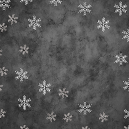 frigid: Abstract snowflakes in front of a gray background. Symbol for icy cold winter Stock Photo