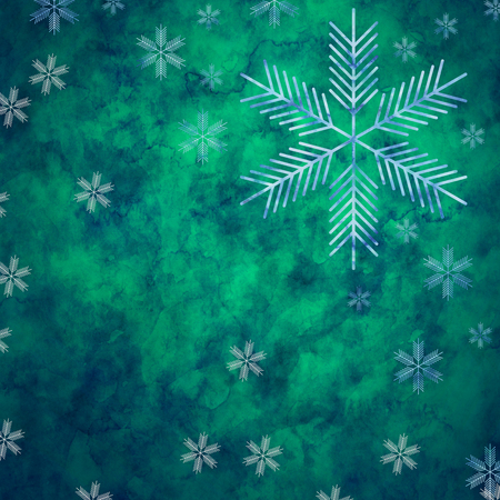 glacial: Abstract snowflakes in front of a green background. Symbol for icy cold winter Stock Photo