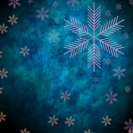 frigid: Abstract snowflakes in front of a blue background. Symbol for icy cold winter