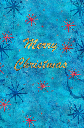 The wish Merry Christmas on a watercolor background with stars.