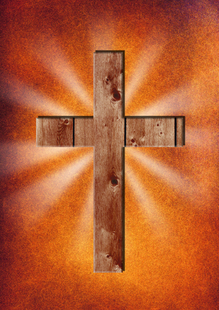 A wooden cross on an abstract background Stock Photo