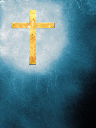 The cross on an abstract background with little flames Stock Photo