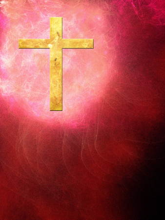 The cross on an abstract background with little flames Standard-Bild