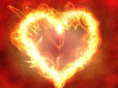 A burning heart as a symbol for passion Standard-Bild