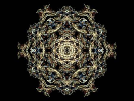 Sand flame mandala flower, ornamental round pattern on black background.