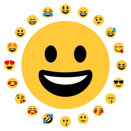 Flat design. 20 positive emojis.