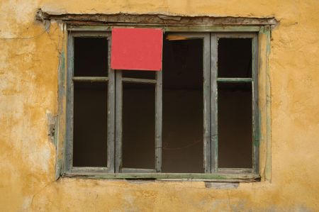old windows and  red signboard Stock Photo - 2548674