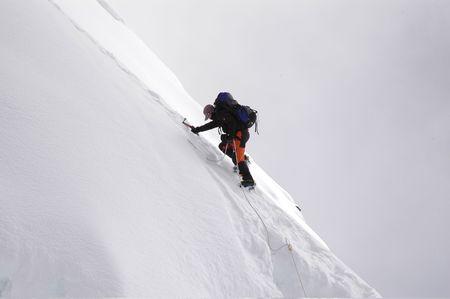 climber: de top van het eiland piek, Nepal. Stockfoto