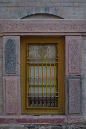 old window and old pink stones