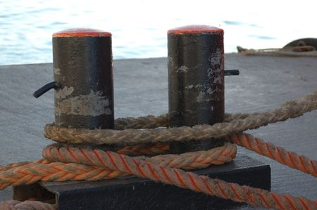 Rope and pillar on the dock.