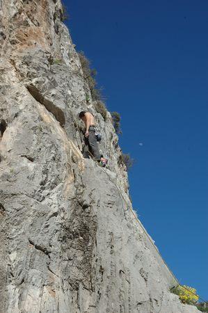 climber man on the rock