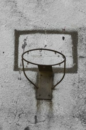 Basketball  basket on the wall  dirty and rusty Stock Photo