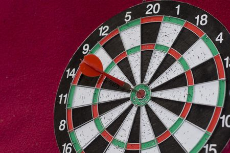 bull     s eye: Dart on the red arrow in the center Stock Photo