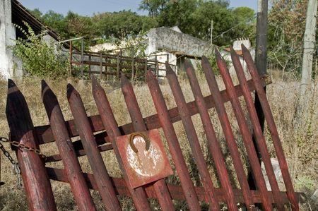 Broken old wooden fences photo