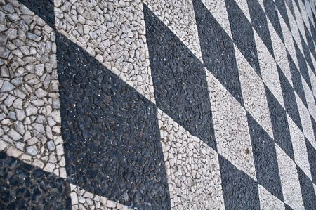 Rectangle stones pattern on the ground middle age style stones grournd Stock Photo
