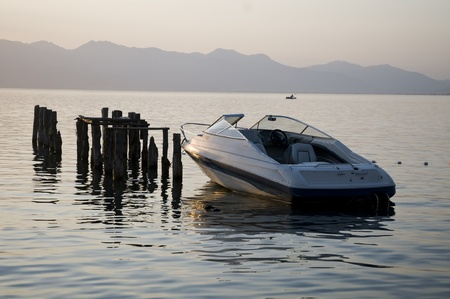 Boat at the Lake Ohrid Stock Photo