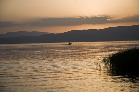 Sunset of the Ohrid Stock Photo