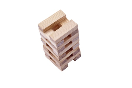 Game of balance with wooden blocks. Stock Photo