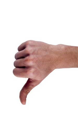 Thumbs Down male hands, isolated on white.