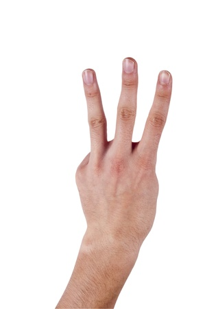 Human hand make a number three on isolated background Stock Photo