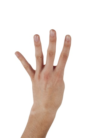 Human hand make a number four on isolated background Stock Photo - 11933750