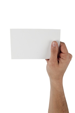 Human Hand Holding Empty Card photo