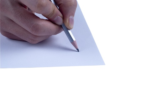 Isolated white background writing paper with pencil  Stock Photo - 12025766