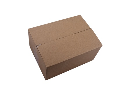 Closed Cardboard box on isolated background photo
