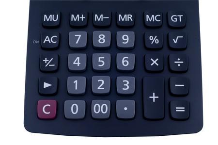 Calculator  keypad on the isolated white background Stock Photo