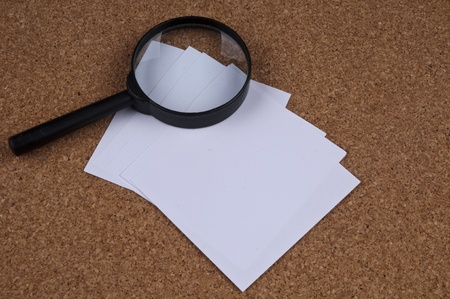 Magnifying on the Cork Board and some note papers