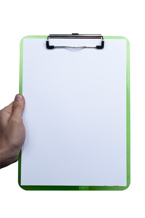 Young male hand holing report note pad in isolated white bacgkround Stock Photo