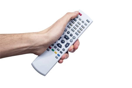 Young Male Holind Remote Controller and pressing some button Stock Photo - 12151798