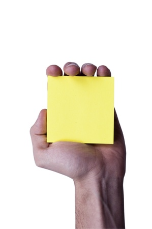 Yellow memo paper holding in the human hand Stock Photo - 12228626
