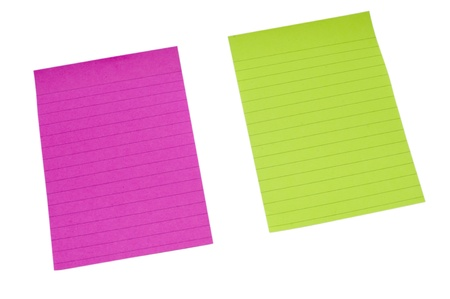 Yellow and Purple lined paper on isolated white bacground Stock Photo - 12228637