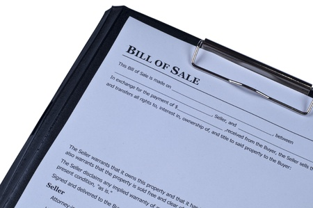 Bill of sale  form  on isolated white background photo