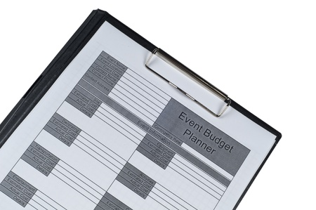 Event Budget planner form form  on isolated white background photo