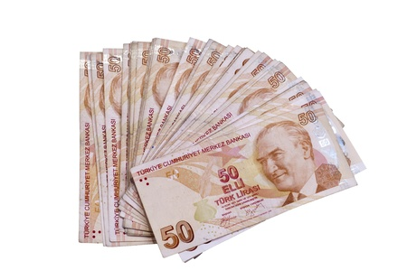 turkish lira: Fifty liras Turkish banknotes on the isolated white backgrounds Stock Photo