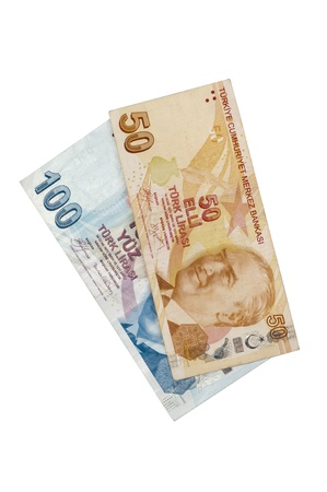 tl: Fifty,Hundred liras, Turkish banknotes on the isolated white backgrounds