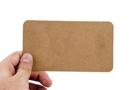 Human Hand Holding Empty Yellow paper Card Stock Photo - 12544213