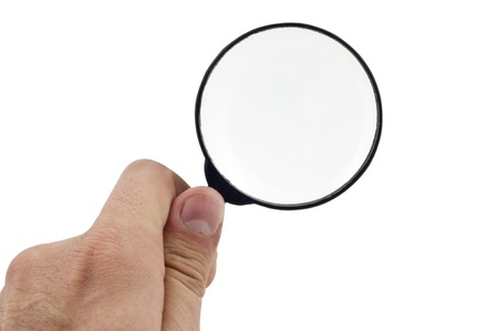 Magnifying  Glass on the Male Hand photo